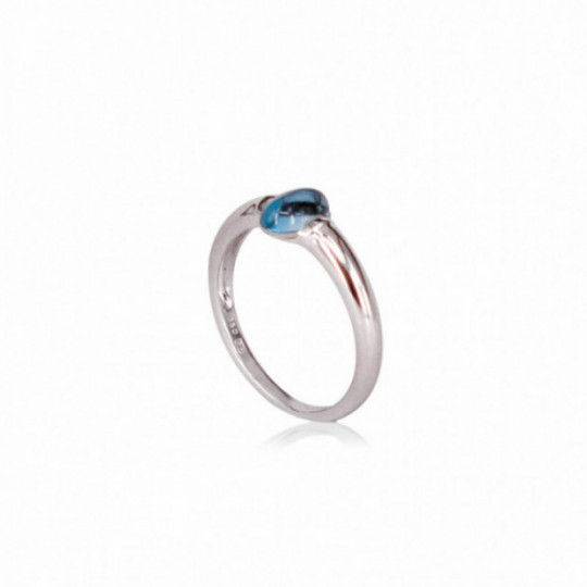 RING WHITE GOLD AND BLUE TOPAZIO