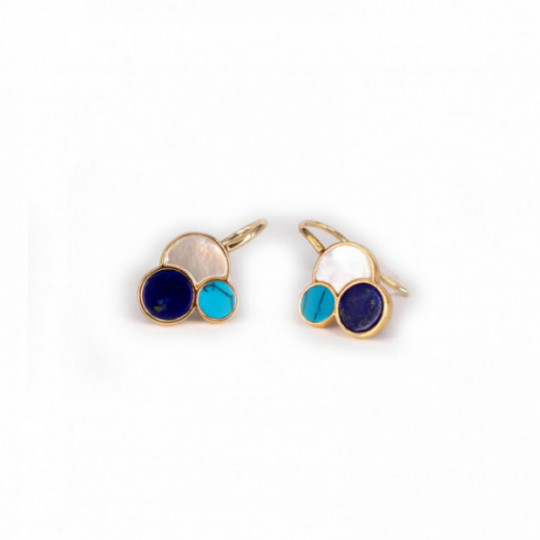 BLUE, GREEN AND NÁCAR EARRINGS