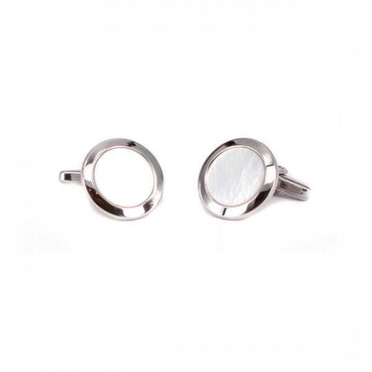 CUFFLINKS MADE OF SILVER AND MOTHER-OF-PEARL