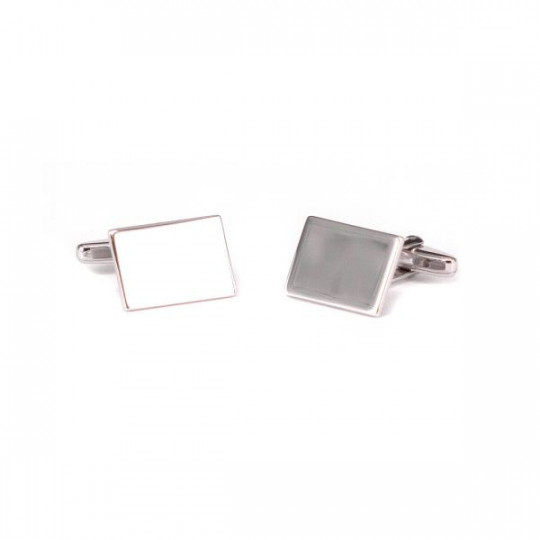 FLAT AND RECTANGULAR SILVER CUFFLINKS