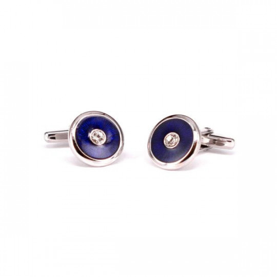 CUFFLINKS WITH BLUE ONYX AND ZIRCONIA