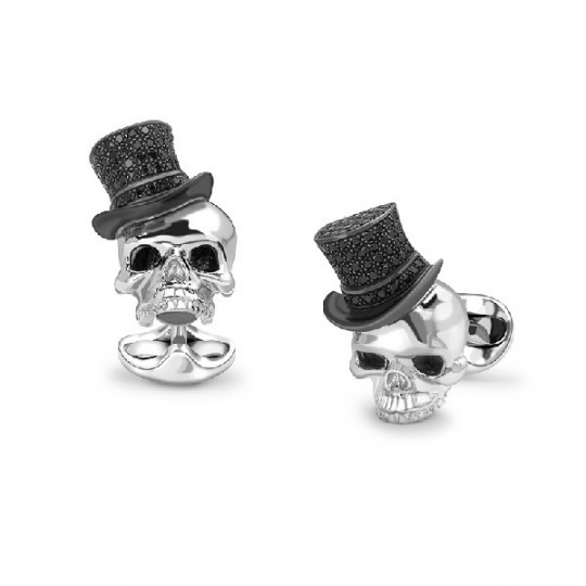 STERLING SILVER SKULL CUFFLINKS WITH BLACK SPINEL TOP HATS C1673X0002