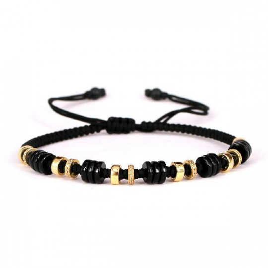 BRACELET GOLD YELLOW WITH BRILLIANT AND ONIX