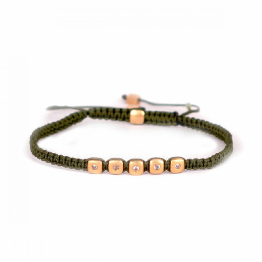 BRACELET MADE OF GREEN THREAD AND ROSE GOLD