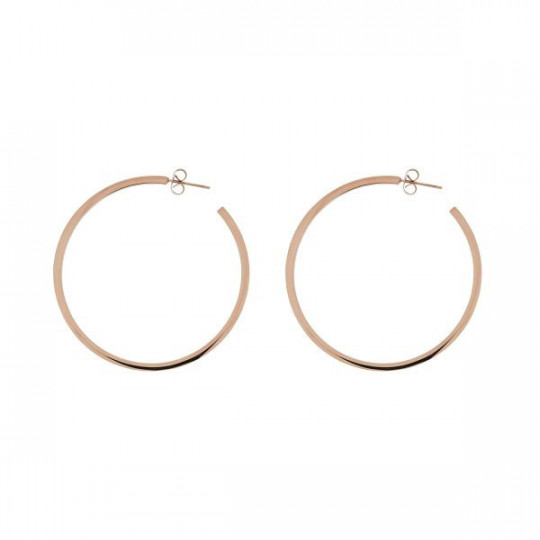 LARGE ROSE SILVER HOOP EARRINGS