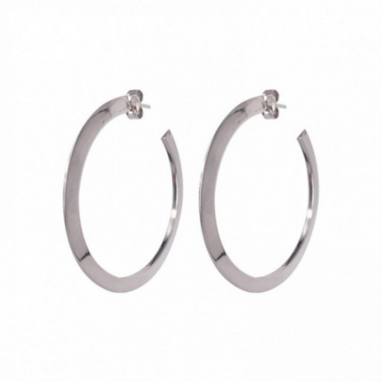 FLAT HOOP SILVER EARRINGS