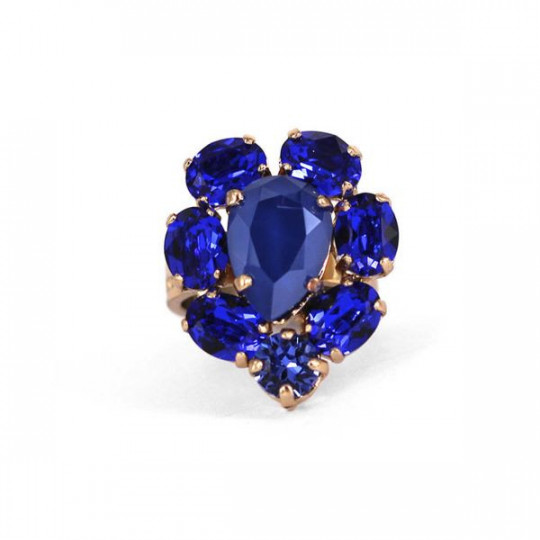 RING WITH SWAROVSKI BLUE CRYSTALS