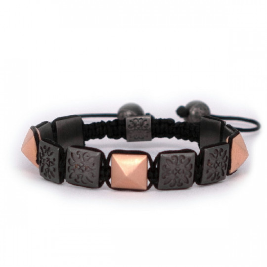 THREAD BRACELET, RUTHENIUM, ROSE GOLD, BLACK DIAMONDS