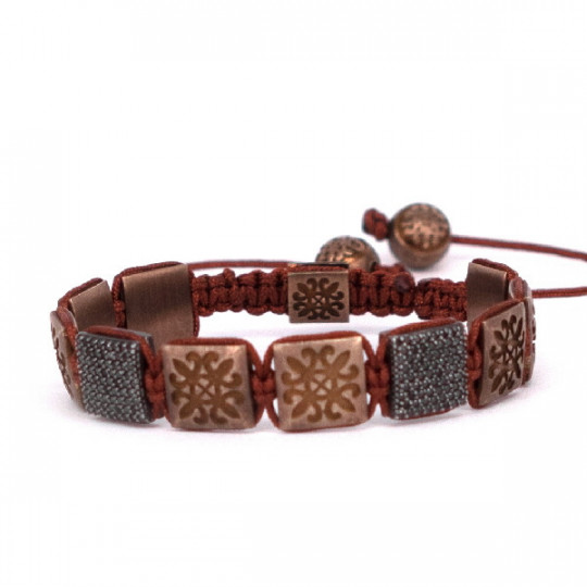 BROWN THREAD BRACELET WITH BEADS
