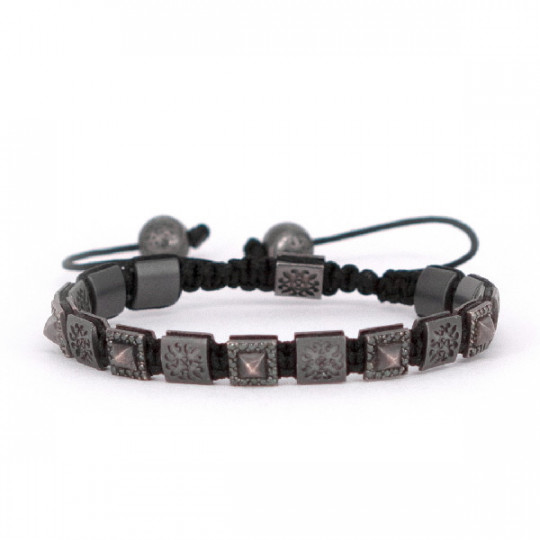 THREAD BRACELET, RUTHENIUM, BLACK DIAMONDS