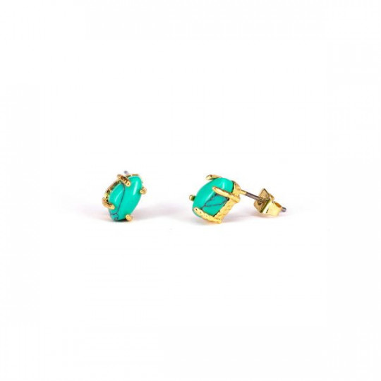 GOLDEN EARRINGS WITH GREEN MARBLE