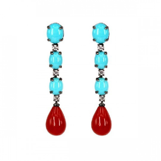 EARRINGS, LONG CORAL AND TURQUOISE WITH BRILLIANT