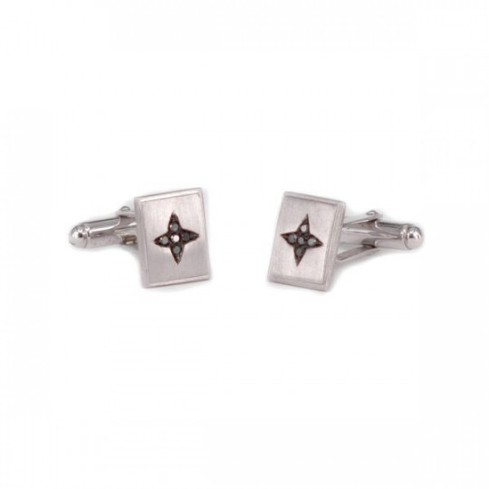 RHODIUM SILVER CUFFLINKS WITH DIAMONDS