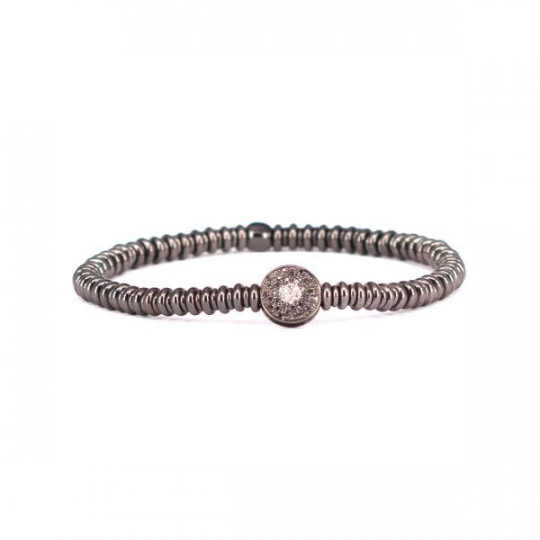 ELASTIC SILVER BRACELET WITH CIRCLE OF DIAMONDS