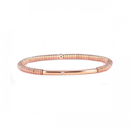 ROSÉ SILVER BRACELET WITH BRILLIANT