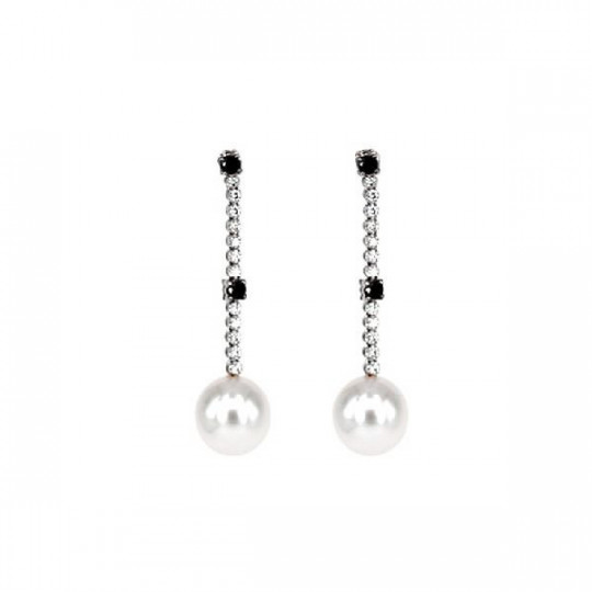 EARRINGS WHITE GOLD BRILLANT & PEARL