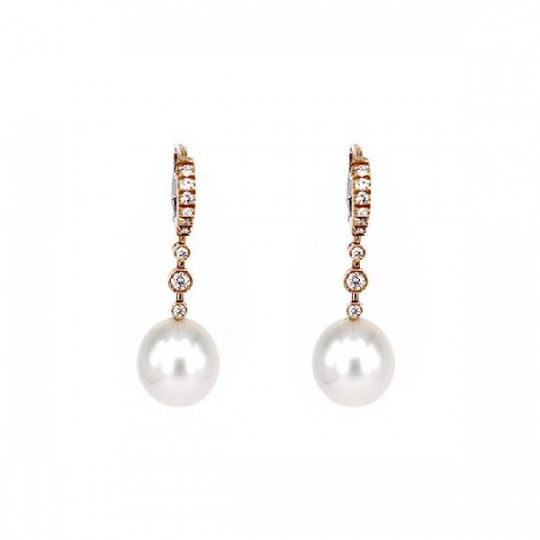 EARRINGS WITH BRILLANTS & PEARL