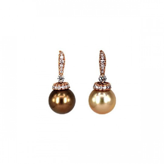EARRINGS, BRILLIANT PEARLS CHOCOLATE & GOLD