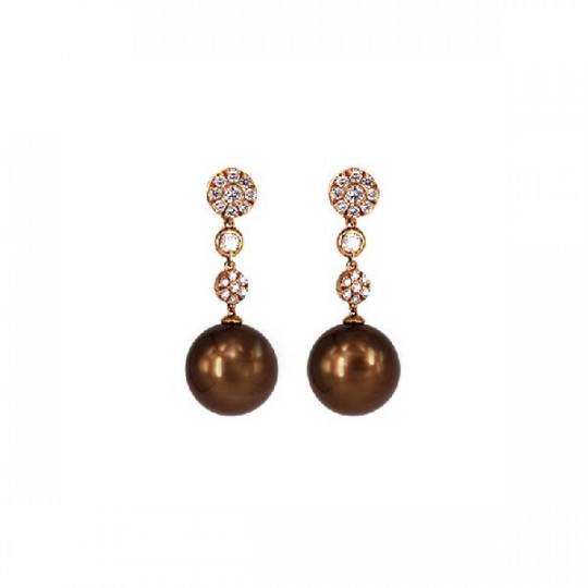 EARRINGS, BRILLATES AND PEARL CHOCOLATE