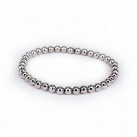 ELASTIC SILVER BRACELET WITH ACCOUNTS