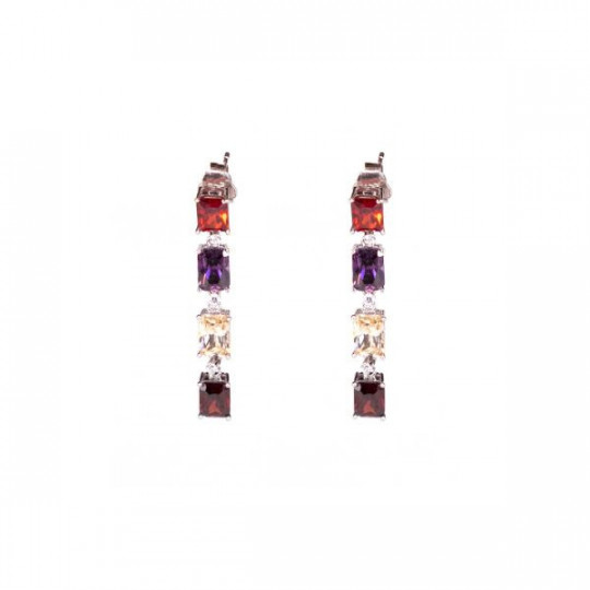 SILVER EARRINGS WITH COLOURED STONES