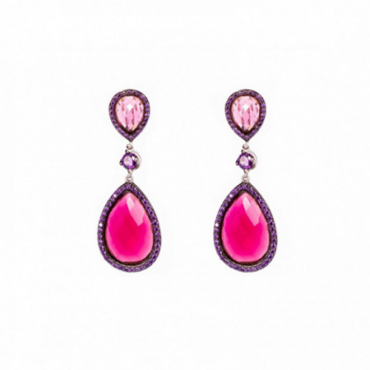 TRANSPARENT RED STONE EARRINGS