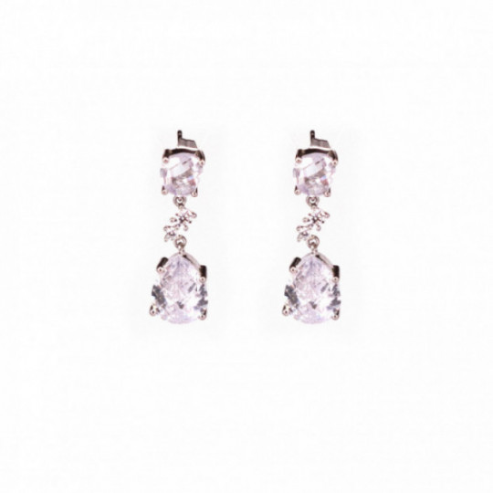 SILVER AND ZIRCONIA EARRINGS