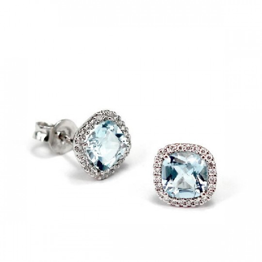 WHITE GOLD EARRINGS WITH DIAMONDS AND BLUE TOPAZ