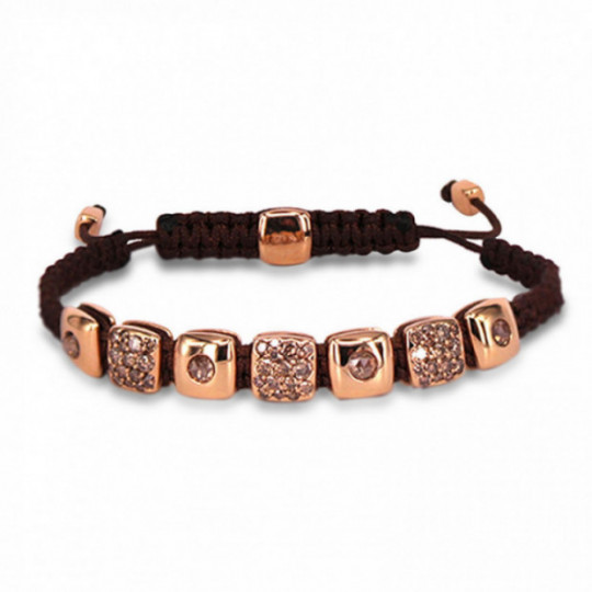BRACELET WITH ROSE GOLD BEADS AND DIAMONDS