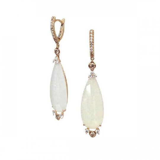 LONG EARRINGS IN ROSE GOLD MOTHER OF PEARL AND QUARTZ