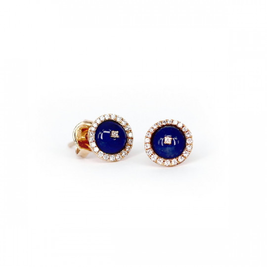 ROSE GOLD EARRINGS WITH  BRILLIANT AND SAPPHIRE