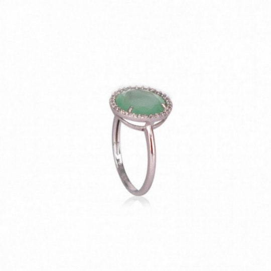 RING WHITE GOLD JADE AND DIAMONDS