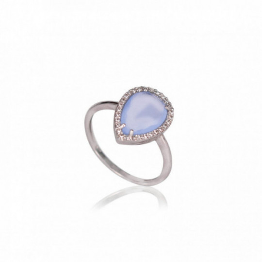 RING WITH DIAMONDS AND CHALCEDONY