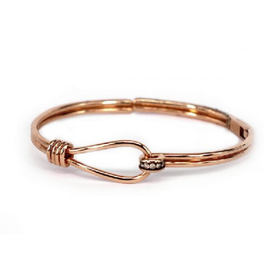 PULSERA DE ORO ROSA CON BRILLANTES BROWN