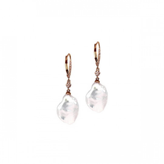 EARRINGS, BRILLIANT WITH FLAT BAROQUE PEARL