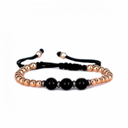 THREADED BRACELET WITH ROSE GOLD AND ONYX BEADS