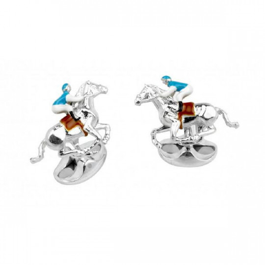 STERLING SILVER BLUE AND BROWN HORSE AND JOCKEY CUFFLINKS C1686S0523