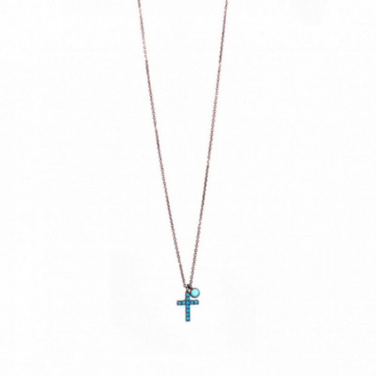 CROSS PENDANT WITH TURQUOISE ZIRCONIA