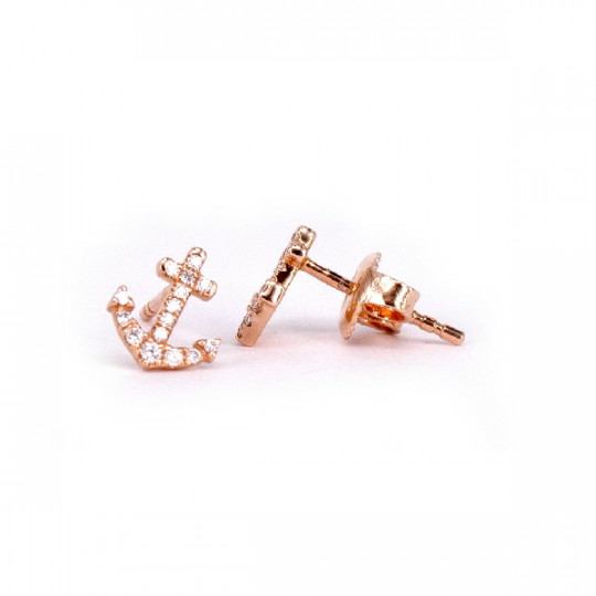 ANCHOR-SHAPED EARRINGS WITH DIAMONDS