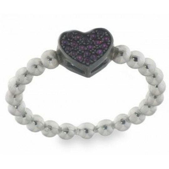 PURPLE HEART SILVER RING