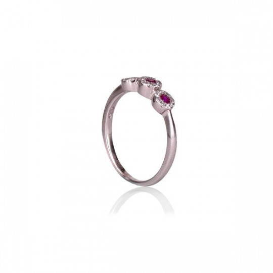 SILVER RING WITH RED ZIRCONIA