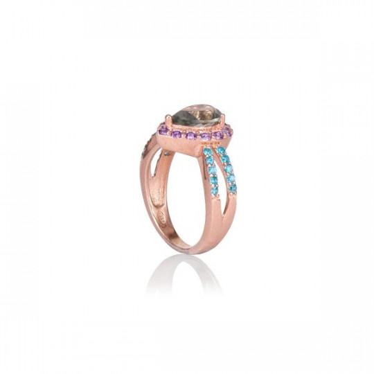 RING MADE OF ROSÉ SILVER WITH COLOURED ZIRCONIA