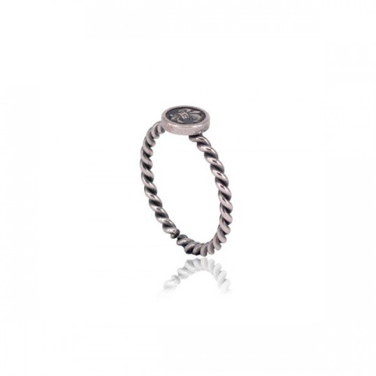 COILED SILVER RING WITH FLEUR-DE-LYS