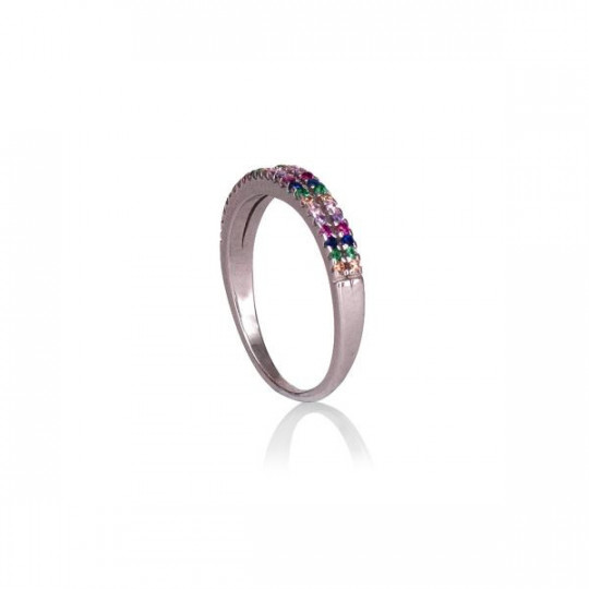 RING WITH COLOURED ZIRCONIA