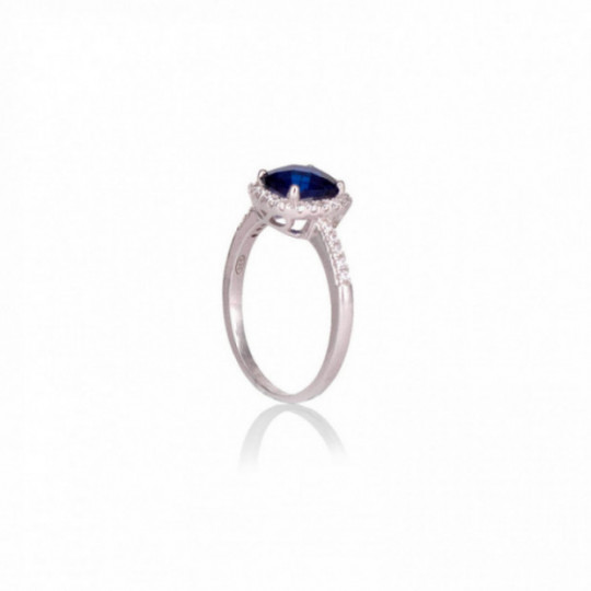SILVER RING WITH BLUE STONE