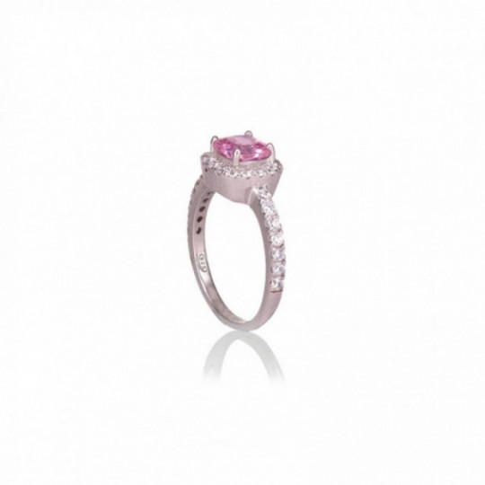 SILVER RING WITH PINK ZIRCONIA