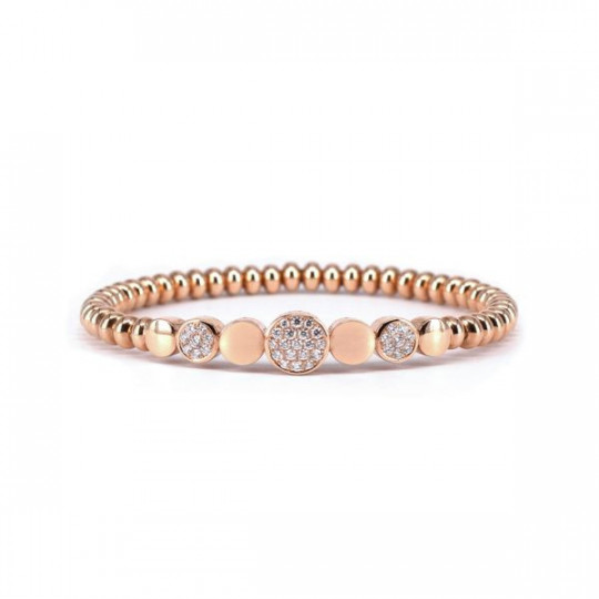 ELASTIC BRACELET PINK GOLD AND WHITE DIAMONDS