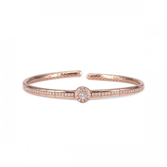 PINK GOLD BRACELET AND CIRCLE OF WHITE DIAMONDS