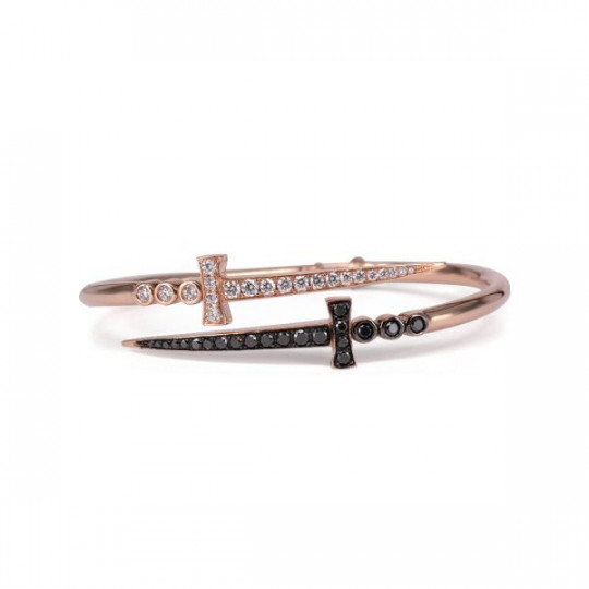 BRACELET SWORDS PINK GOLD AND BRILLIANT WHITE AND BLACK