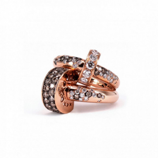 DOUBLE PINK GOLD RING WITH WHITE AND BROWN DIAMONDS
